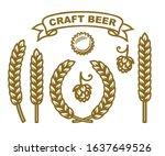 bottle cap  hop cone  ears of... | Shutterstock .eps vector #1637649526