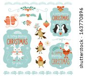 set of christmas lettering and... | Shutterstock .eps vector #163770896