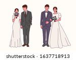 groom and bride characters... | Shutterstock .eps vector #1637718913