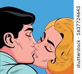 pop art couple kiss. hollywood...   Shutterstock .eps vector #1637724643