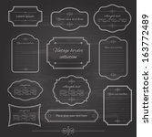 Stock vector vintage frame set on chalkboard retro background calligraphic design elements 163772489