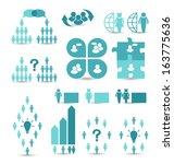 illustration set business icons ... | Shutterstock .eps vector #163775636