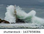 Black Sea Storm. Waves Crash...
