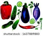 vegetable set  food ... | Shutterstock . vector #1637889883