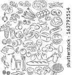 vector illustration of food... | Shutterstock .eps vector #163792514