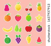 cartoon fruits smile flat icon... | Shutterstock .eps vector #1637937913
