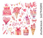 watercolor set of elements for... | Shutterstock . vector #1637945890