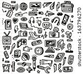 mass media   doodles set | Shutterstock .eps vector #163796270