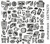 mass media   doodles set | Shutterstock .eps vector #163796270