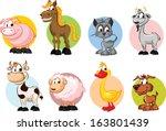 Set Of Animals On Farm   Vector