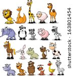 set of cartoon cute animals | Shutterstock .eps vector #163801454