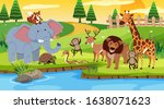 scene with many animals... | Shutterstock .eps vector #1638071623