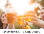 Friends Enjoying Drinking Beer...