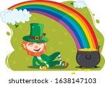 leprechaun  pot of gold and a... | Shutterstock .eps vector #1638147103