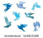 Stock vector paper pigeons and doves set in origami style 163815188