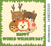 happy world wildlife day with... | Shutterstock .eps vector #1638225310