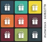 gift icons in flat design with... | Shutterstock . vector #163822778