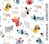 childish seamless pattern with... | Shutterstock .eps vector #1638237520