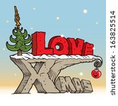 vector drawing of a 3d xmas text | Shutterstock .eps vector #163825514