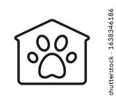 Pet House With Paw Print Icon....