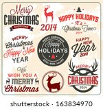 collection of christmas labels... | Shutterstock .eps vector #163834970