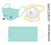 set of disposable face mask to...   Shutterstock .eps vector #1638373399