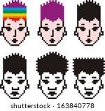 collection of unusual pixel... | Shutterstock .eps vector #163840778