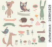 forest set with cute bear ... | Shutterstock .eps vector #163841828