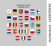 european union flags. vector... | Shutterstock .eps vector #1638430696