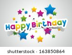 happy birthday coloured card on ... | Shutterstock .eps vector #163850864