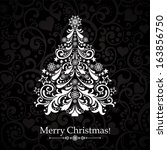 christmas card. christmas tree. ... | Shutterstock . vector #163856750