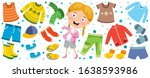 colorful clothes for little... | Shutterstock .eps vector #1638593986