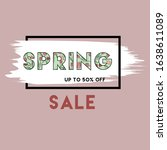 spring sale. up to 50 percent... | Shutterstock .eps vector #1638611089
