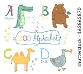 cute zoo alphabet in vector. a  ... | Shutterstock .eps vector #163862870