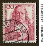 Small photo of Germany stamp - circa 1957: a stamp printed in Germany shows portrait of Lutheran clergyman Paul Gerhardt.