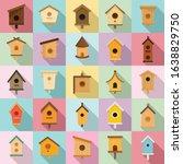 Bird House Icons Set. Flat Set...