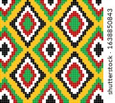 pixelated colorful ethnic... | Shutterstock . vector #1638850843