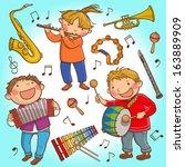 illustration set of children... | Shutterstock .eps vector #163889909