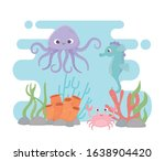 octopus  seahorse and crab.... | Shutterstock .eps vector #1638904420