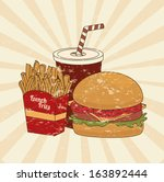 fast food over pink background... | Shutterstock .eps vector #163892444