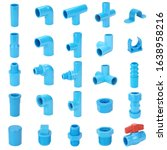 set of blue pvc fitting in...   Shutterstock . vector #1638958216