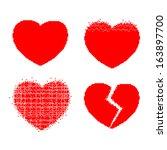 pixel heart vector set | Shutterstock .eps vector #163897700