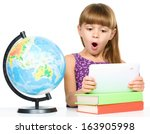 surprised young girl is using... | Shutterstock . vector #163905998