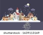 winter landscape with houses ... | Shutterstock .eps vector #1639113169
