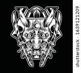 oni mask tribal tattoo... | Shutterstock .eps vector #1639121209