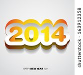 happy new year 2014 yellow and... | Shutterstock .eps vector #163912358