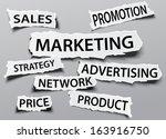 marketing concept on torn... | Shutterstock .eps vector #163916750