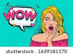 wow pop art female face. sexy... | Shutterstock .eps vector #1639181170