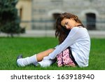 short skirt attractive young... | Shutterstock . vector #163918940
