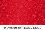 vector red background with hand ... | Shutterstock .eps vector #1639213330